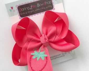 """Strawberry Bow to match Matilda Jane Camp MJC Let's Jam  -- choose 4"""", 5"""" or 6"""""""