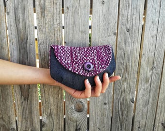 Mini clutch jeans and purple upholstery with pearly purple button