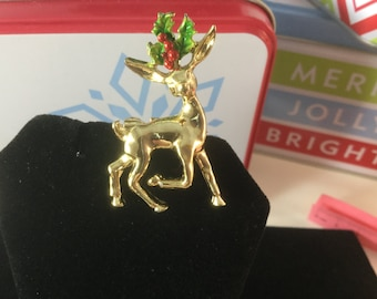 Vintage Gold Plated Reindeer Brooch, Green and Red Hollly, Signed by Gerry's