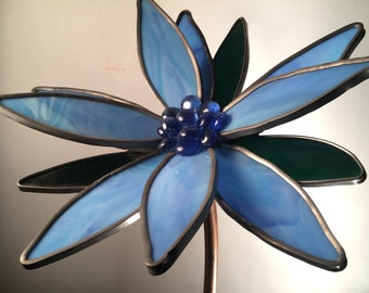 Blue 3-D large stained glass garden flowers - Gardener, Women, Man, Birthday, Valentines Day, Art, Handmade, Gift.