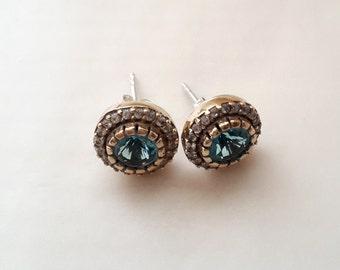 Sterling Silver Earrings, Silver Earrings, Rose silver Earrings, Aquamarine Earrings