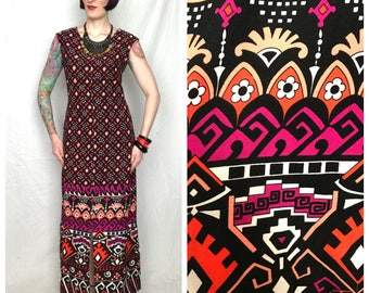 Vintage 60s 70s Bold Psychedelic Geometric Ethnic Gypsy Maxi Dress - size Large