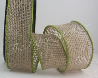"""Wired Burlap/Olive Green Border, 2"""" wide by the yard, Olive Green Ribbon, Wired Olive Green Ribbon"""