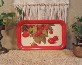 "Vintage strawberry tin tray / Small 14"" rectangular vintage tray"