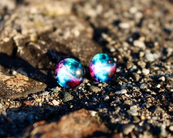 Galaxy Stud Earrings   Space Stud Earrings   Galaxy Jewelry   Space Earrings   Titanium Earrings   Hypoallergenic Stud   Stud Earrings