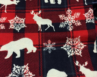Flannel Red Snowflake/Woodland Animal Pillowcase