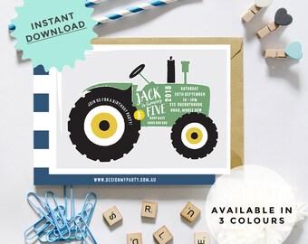 Red, Green, Blue Tractor Invitation, INSTANT DOWNLOAD, DIY Printable, Templett, Editable pdf jpeg