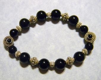 Onyx, Silver and Bali Silver Stretch Bracelet