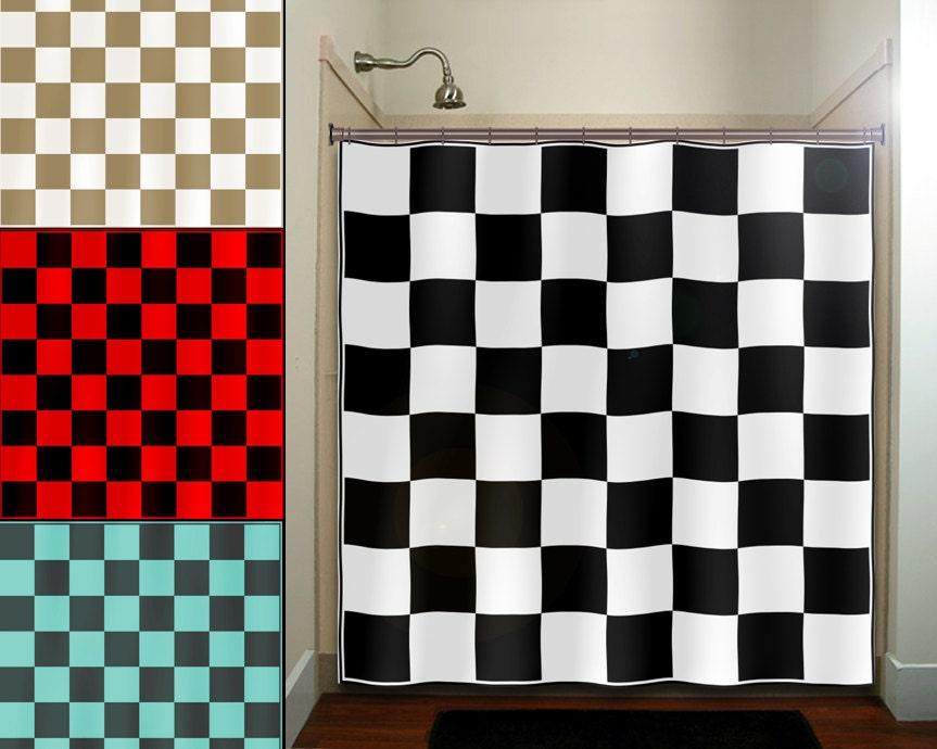 Checkered Car Racing Flag Chess Board shower curtain fabric