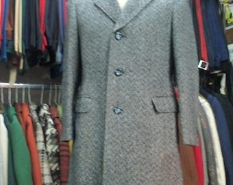 Cappotto operato anni 60.Panno.Tg.S-46/Amazing 60s redingote coat/Herringbone pattern/Blue&White/Made in Italy/Slim fit/Lined/Size S-36 US
