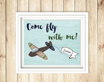 Baby Boy Airplane Sign | Come Fly With Me | Customized Baby Name