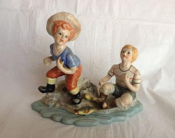 1950s Ceramic Figurine of Two Boys Fishing Handpainted Unmarked