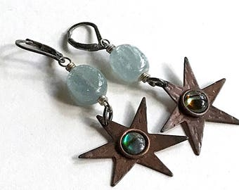 Antiqued Copper Star Kyanite Abalone Minimalist Dangle Earrings,  Cool, For Her Under 90, One of a Kind Girlfriend Sister Wife Gift