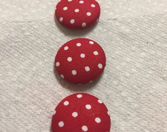 Red White Polka Dot Buttons