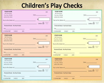 Personalized Printable Children's Play Checks~Pretend Checks~Toy Checks~Math Learning Tools~Banking~Fake Currency~Toy Currency~Custom Checks