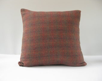 18x18 Rust Plaid Wool Pillow Cover