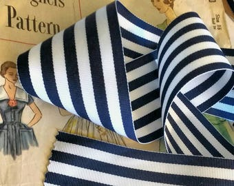"""Navy Blue and White Striped Ribbon, Striped Nautical Ribbon 2.25"""" inch Grosgrain"""