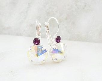 Amethyst Drop Earrings - AB Crystal Earrings - Iridescent Rhinestone Earrings - Silver Purple Earrings - February Birthstone Jewelry E3028
