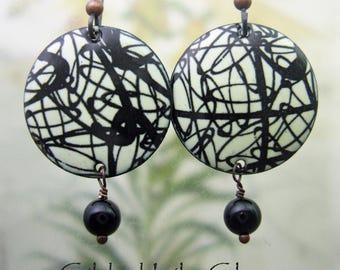 Loopy Enamel Earrings, Copper Enamel Jewelry Handmade in North Carolina