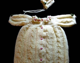 Fisherman Cable Baby Bunting and Bonnet Crochet Pattern PDF 471