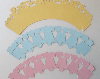 Baby Shower Cupcake Wrapper/ cupcake wrapper/ wrapper/ Set of 12