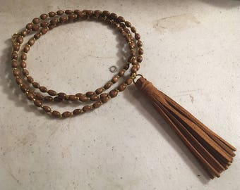 Brown Necklace - Wood Jewelry - Long - Statement - Tassel Pendant - Gold Jewellery - Fashion - Trendy
