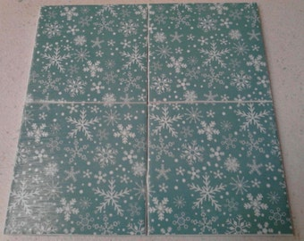 Snowflakes on turquoise coasters set. Winter coasters. Set of 4 Christmas/ holiday tile coasters.