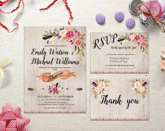 Printable wedding invitation suite Floral wedding invitation suite Boho wedding invitation suite Wedding Invite Set DIY Wedding Digital File