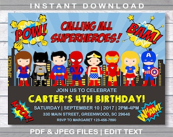 Superhero Invitation, Superhero Birthday Invitation, INSTANT DOWNLOAD, Superheroes Birthday, Comic Birthday Party, Superhero, Editable