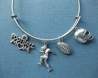 Football Bangle - Football Charm Bracelet - Football Jewelry - Football Mom - Football - Charm Bracelet - Bangle -- B145