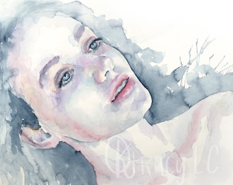 Look At The Stars, Watercolor Portrait