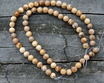 Picture Jasper 6mm Rounds 8 inch Strand