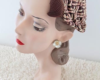 Vintage 1930's hat | Art Deco Hat | Pink Brown Cream Hat | Vintage Dutch Cap | Vintage Cloche |