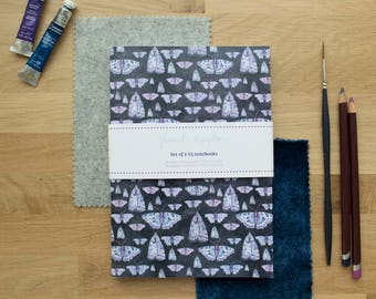 Butterfly and Moth Set of 2 A5 Notebooks | Lined Pages | Recycled Paper | Designed in Yorkshire | Made in the UK