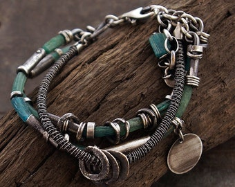 USE CODE - 15OFF • SALE 15% • ancient Roman glass • raw sterling  silver bracelet • oxidized silver • inspirational gift for women