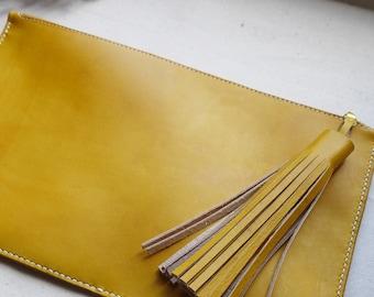 Large Tassel Clutch Bag, leather bag, leather tassel, handmade in England.