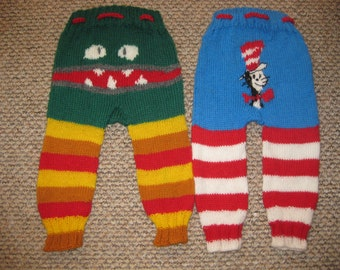 Pure wool custom hand knitted longies , nappy , diaper cover.Monster ,Dr Suess, Digger,VW Camper,Rocket,Dino ,Minion,