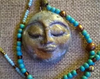 clay moon pendant necklace