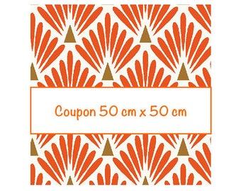 Coupon fat quarter 50 cm x 50 cm, fabric orange scales, art deco fabric