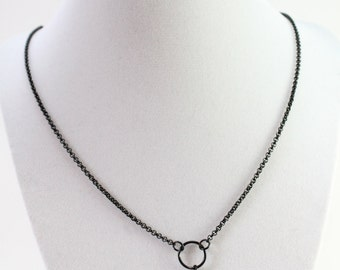 """32"""" Black Floating Locket Chain, Chain for Owl or other Floating Locket Necklaces, Black Rolo Chain"""