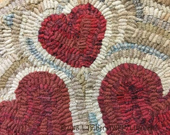 3 Hearts~ PRIM ~ Wool Hooked Chair/Table Mat ~ FREE Shipping