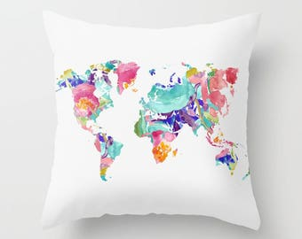 world map Pillow with insert cover - nursery decor - 16x26 - 18x18 -  20x20 -By Aldari Home