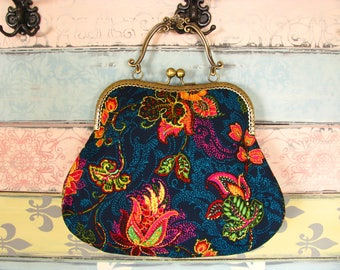 Oriental evening clutch purse with flowers, kiss lock purse, metal frame purse, purse with handle