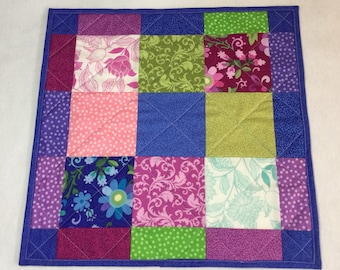 Floral Quilted Table Topper, Blue Pink Purple Table Topper, Spring Summer Table Topper Quilt, Patchwork Table Topper, Handmade Table Topper