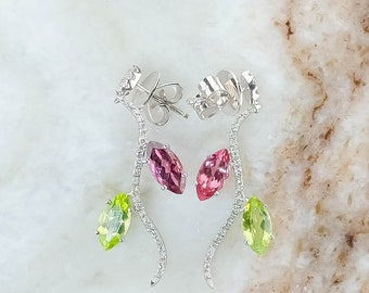 18K White Gold Peridot, Tourmaline & Diamond Accented Leaf Dangle/Drop Earrings