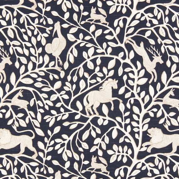 Navy Blue Animal Upholstery Fabric - Fabric with Lions - Blue White ...