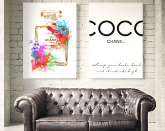 Coco Chanel Prints. Chanel Perfume Bottle, Coco Chanel Quotes. Fashion Wall Art. Fashion Prints. Coco Chanel prints. Chanel Watercolor Art.