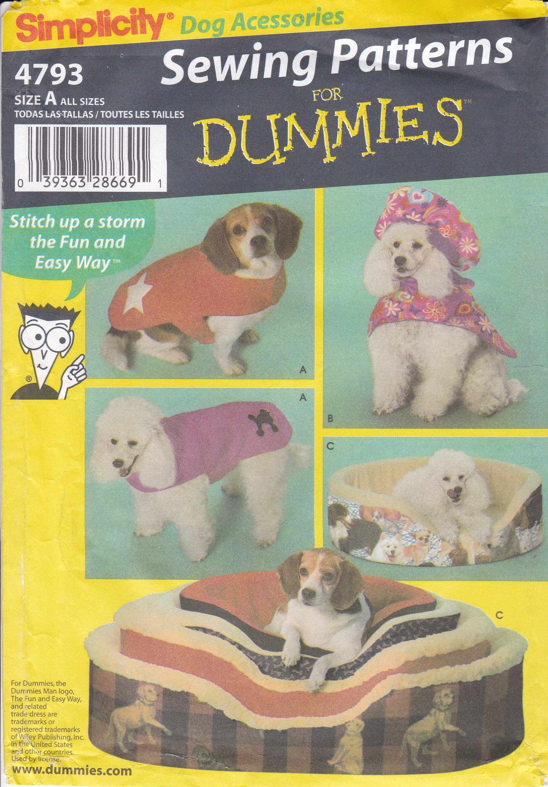 Free us ship sewing pattern simplicity 4793 crafts animal pet dog free us ship sewing pattern simplicity 4793 crafts animal pet dog cat bed small to large coat hat sewing for dummies new factory folded jeuxipadfo Image collections