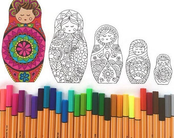 Matryoshka Doll Coloring Page download, adult coloring page, Kids coloring page download, Printable coloring page