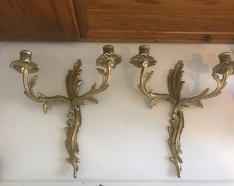Vintage brass candlestick holders wall decor. Heavy! Art Deco style. Goth, prop